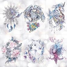 Dream catcher Moon Lotus Flower Temporary Tattoo Sticker Peony Snake Owl Fox Flash Tattoos Small Body Art Waterproof Tatoo