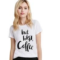 Topjini Plus Size 2017 Women Casual Print T Shirt Summer Loose Slim Cartoon Coffee T Shirt