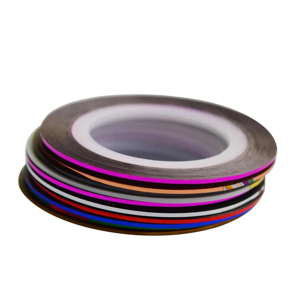 1pcs NEW Metallic Nail Art Tape Lace Line Strips Striping Decoration For UV Gel Polish Nail Art Self-Adhesive Decal Tools NS10