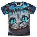 2016 Nueva 3D Harajuku Camiseta de la Impresión Del Gato de Cheshire Haciendo muecas de Gato Camisetas de Manga Corta Camiseta de Verano Para Mujeres/Hombres Ropa