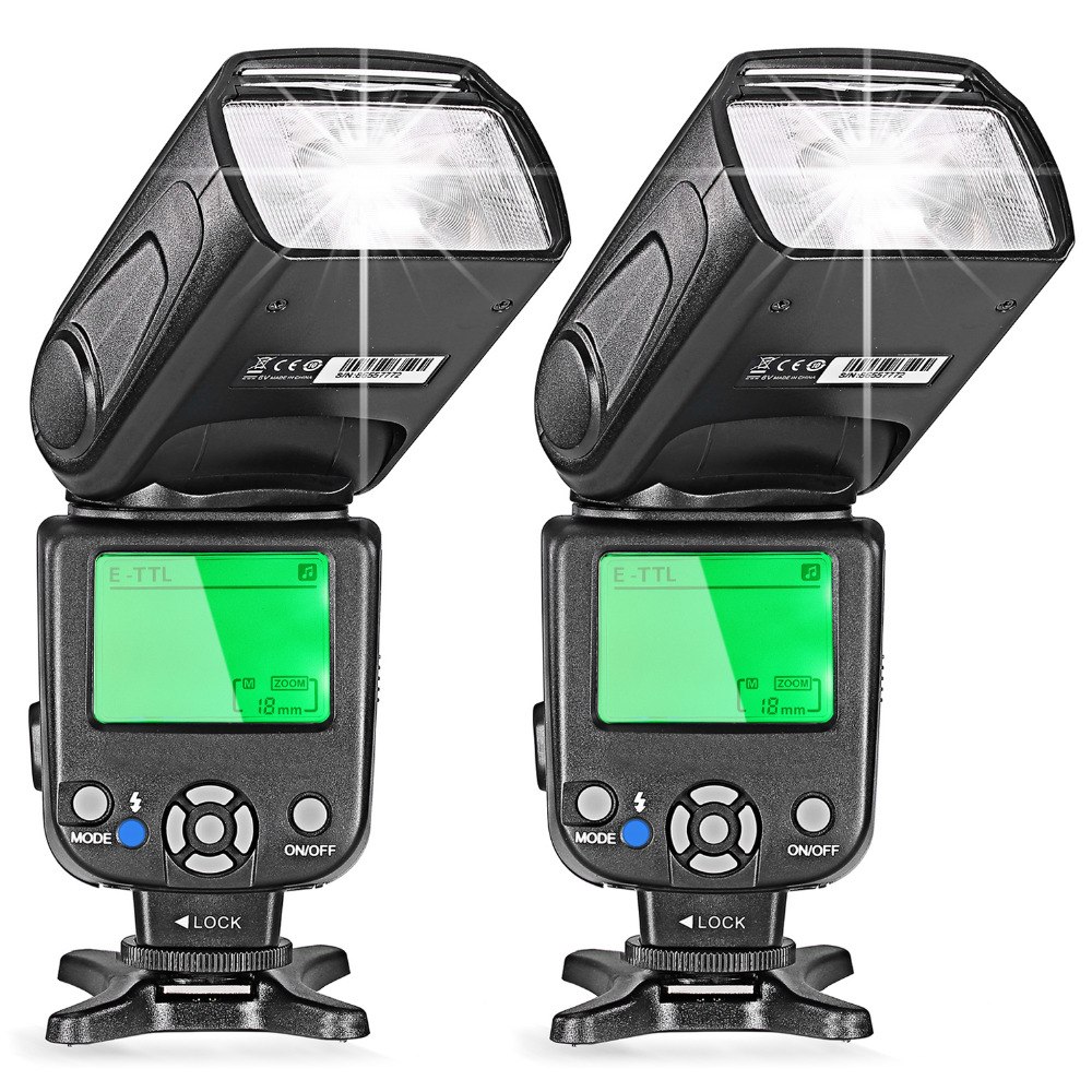 Neewer Two E-TTL Flash Speedlite for Canon DSLR Camera 5D Mark II 5D Mark III 700D 650D 600D 1100D 550D 500D 100D 6D(NW-562)