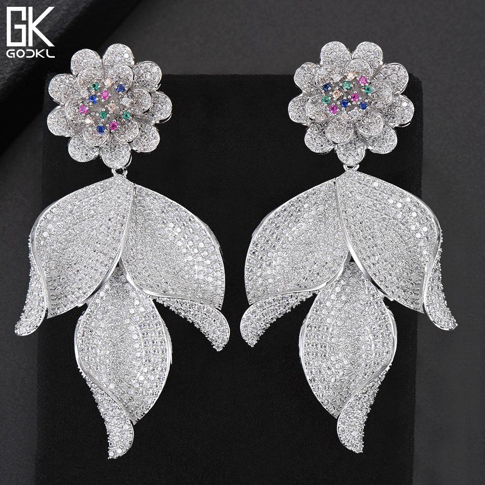 GODKI New Trendy Luxury Flower Leaf Long Dangle Earrings For Women Wedding Zircon Crystal CZ Indian Dubai Silver Bridal Earrings pair of trendy rhinestone oval leaf earrings for women page 5