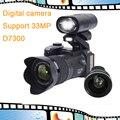 Новый D7300 Цифровая Камера Автофокус 13MP Поддержка 33MP с Телеобъектив и Широкий Ангел Объектива D3000 обновленная версия HD видеокамеры