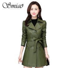 2019 Autumn Winter Women Long Leather Jacket Slim Plus Size 4XL Bow Belt Motorcycle PU Coat Soft Trench