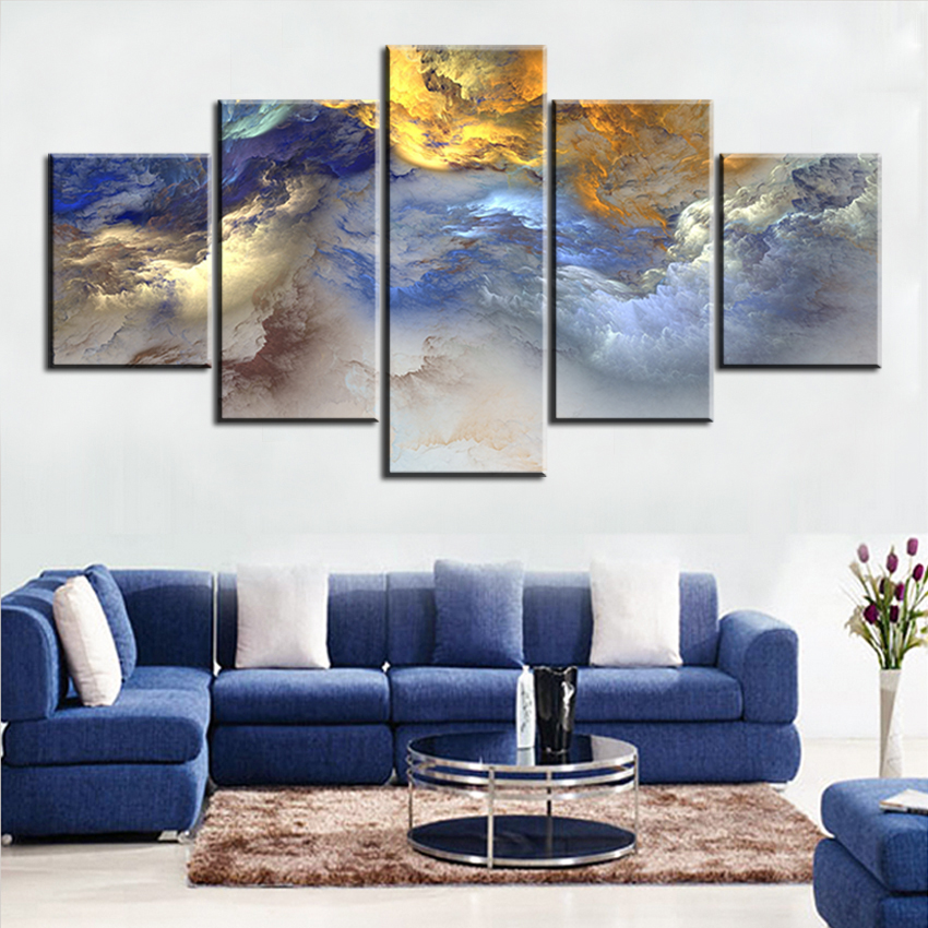 5 Pc Set Blue Yellow Grey Abstract Cloud No Frame Oil