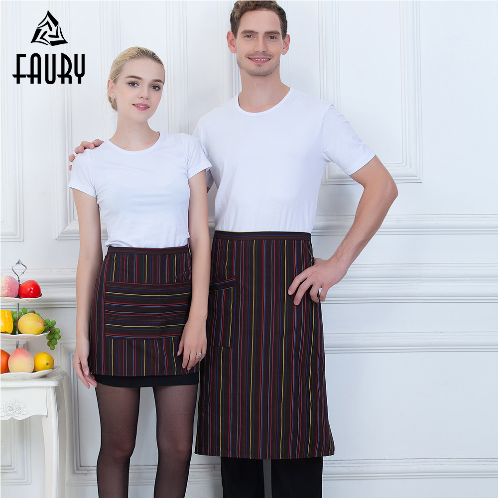 Wholesale Striped Pocket Half Apron Food Service Waiter Waitress Home Kitchen Bakery Chef Cooking Workwear Uniform For Women Men