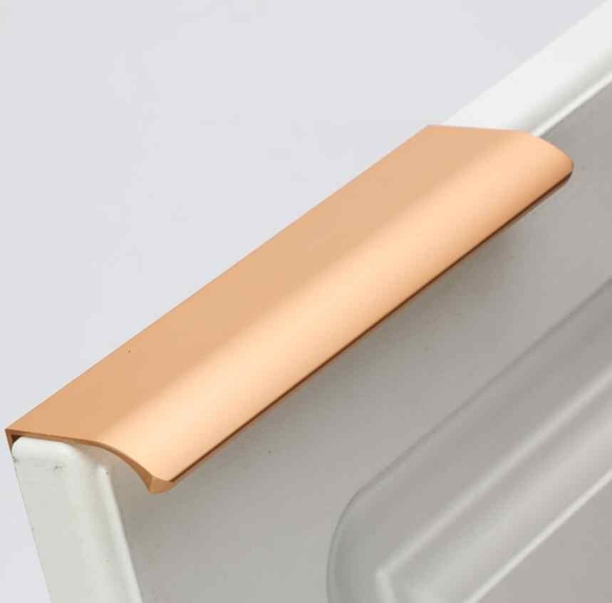 Алюминий современные золото Невидимый Скрытая ручка шкаф ручки для шкафов Кухня дверные ручки для гардероба ручки выдвижного ящика 64/96/160 мм