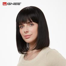 Wignee Remy Brazilian 100% Human Hair Bob Wigs With Free Bangs For Black/White Women Short Straight Natural Black Hair Human Wig wignee short straight human hair wigs with free bangs for black white women 150% high density brazilian remy hair short bob wig