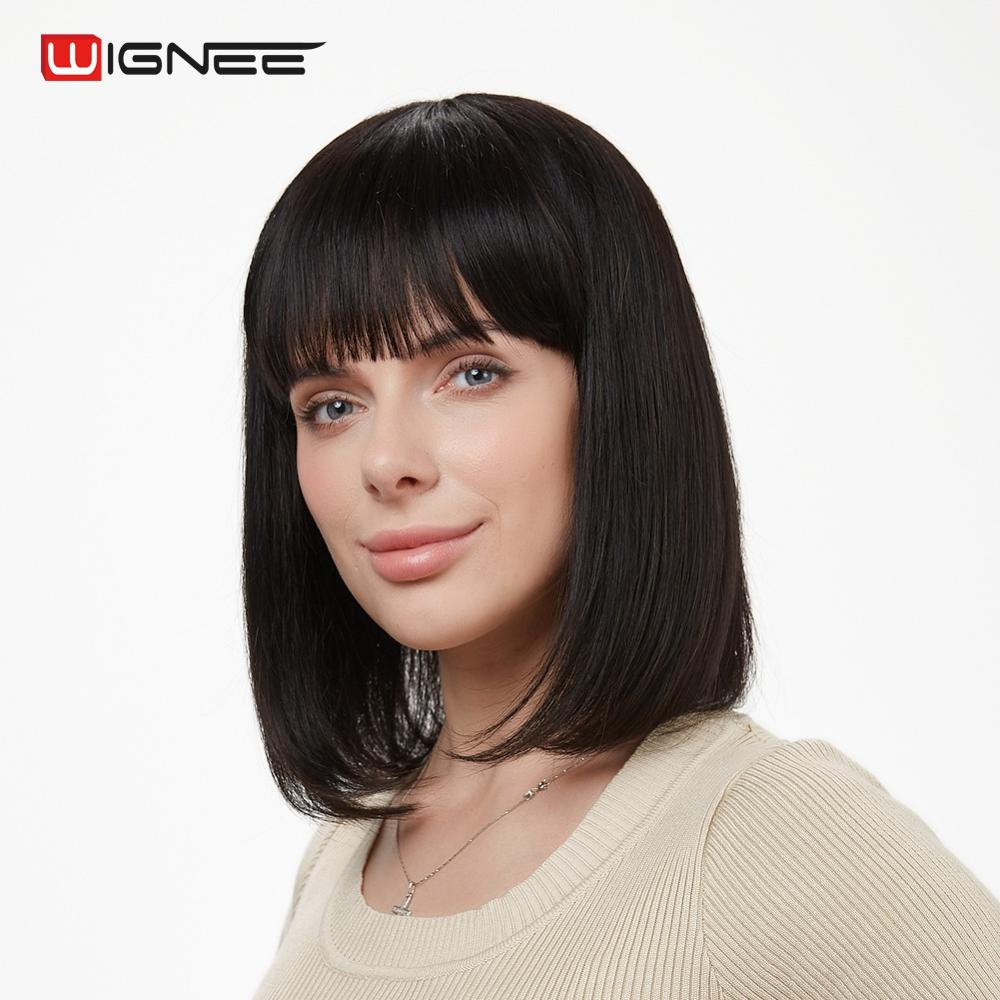Wignee Remy Brazilian Human Hair Bob Wigs With Free Bangs For Black/White Women 150% Glueless Short Human Bob Straight Hair Wig