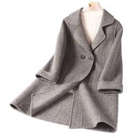 Модная зимняя куртка женские кашемировые пальто короткая заметка элегантные и удобные шерстяное пальто женские осеннее пальто
