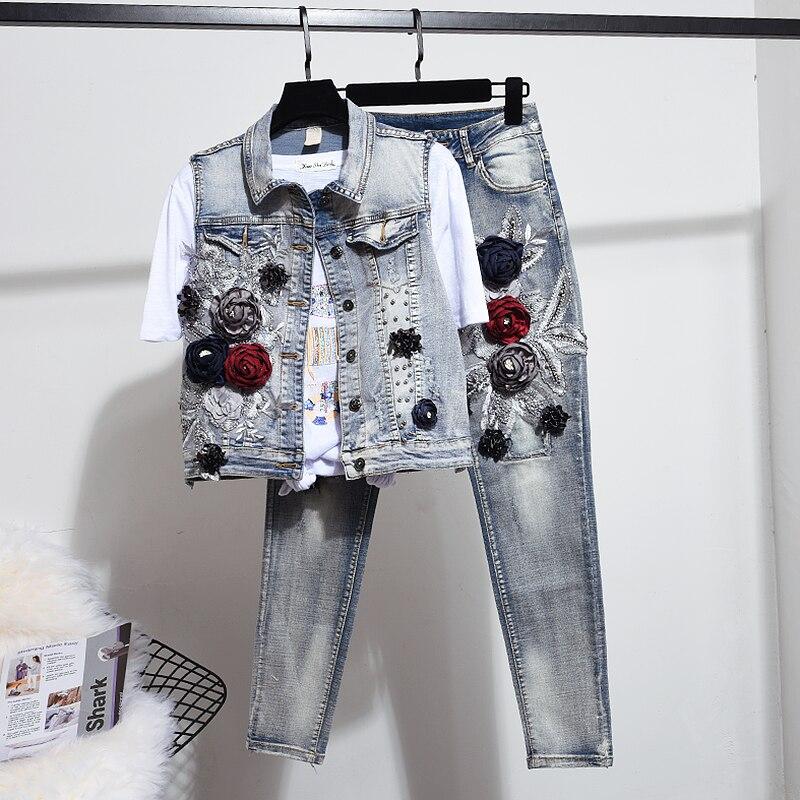 Fashion Suits Jeans Sets For Women Two Piece Set Spring Autumn New Stereo Flower Waistcoat Denim Vest Suit Trousers Pantsuit