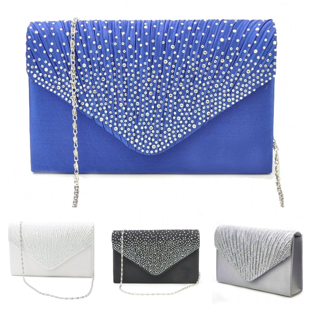 Womens Silk face Diamond Clutches Shoulder Bag Evening Bridal Prom Satchel Chain Elegant  Handbag(Navy blue,Silver,Black)