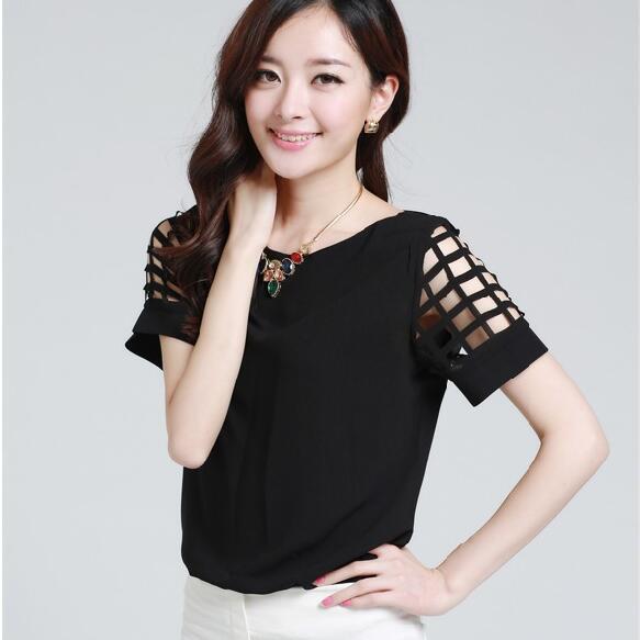HTB1NW66KpXXXXXhaXXXq6xXFXXXV - New Summer shirt Short sleeve Chiffon Blouse Tops Clothing 5XL