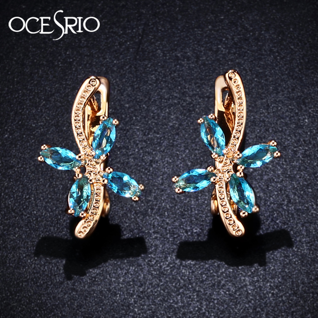 02d8084fe OCESRIO Korean Fashion Blue Zircon Leaves Earrings Gold 585 Flower 585 Rose Gold  Earrings for Women Jewelry Accessories ers-j54