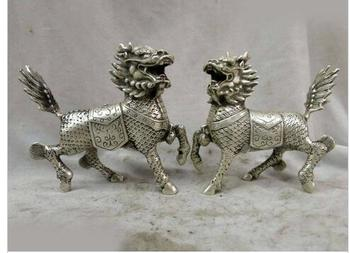 "decoration copper silver factory  6"" China silver finely carved Foo Dogs Lions kylins pair Sculpture Statues"