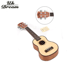 Uk Dream 21 inch mini Acoustic Guitar 15 Frets 4 Strings ukulele Spruce Mahogany Hawaii Guitar Closed Knob Wood Color US-54A