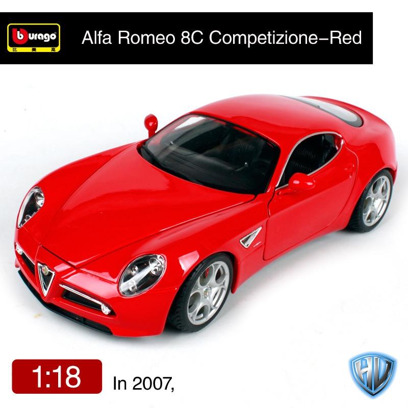 Bburago 1:18 alfa romeo 2007 8c competizione rood geel auto diecast 230*110*57mm open covers auto model gift voor fans 12077-in Diecast & Speelgoed auto´s van Speelgoed & Hobbies op  Groep 3