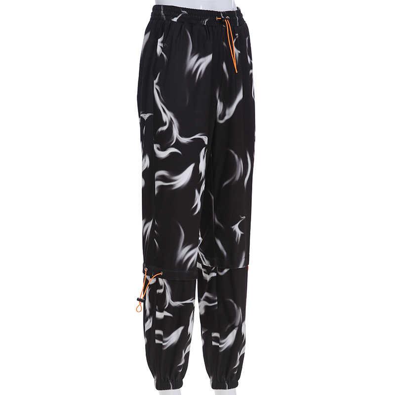 Weekeep черные брюки с высокой талией и принтом женские уличные брюки-карандаш в стиле пэчворк женские 2019 брюки женские низ