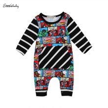 Newborn Baby Boys Long Sleeve O-Neck Covered Button Striped Print Romper Jumpsuit Playsuit Sunsuit Baby Clothes Zero-24M