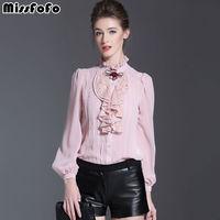 MissFoFo 2017 Pink Body Shirt Fashin Office Lady Blouse Winter Work Wear Silk One Piece Brand Female Casual Basic Shirt Rose Bow