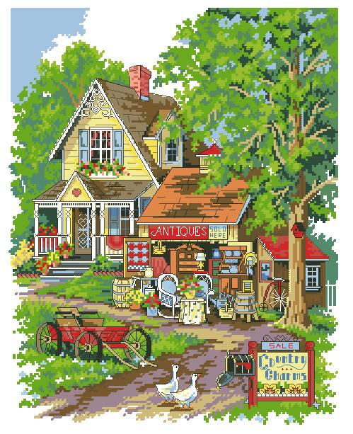 Gold Collection Counted Cross Stitch Kit Antique Charm Shop House For Sale Dim 13608