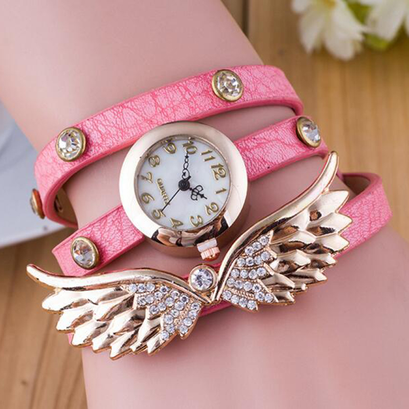 Bohemian Pink Color Leather Wristwatch For Women Fashion Jewelry Watche