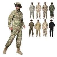2018 Zewnątrz Taktyczne Koszula Spodnie Jednolite Ustaw Airsoft Wojskowe Armii Mundur Kamuflażu Garnitur Ubrania Myśliwskie Odzież Akcesoria