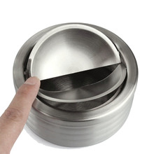 Stainless Steel Creative Windproof Ashtray With Lid Rotatable Tight Seal Ash Tray Thickening Cenicero Cigar