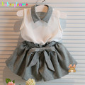 2Piece/2-6Years/2017 Summer Korean Fashion Baby Girls Clothes Kids Suit Sleeveless T-shirt+Shorts Children's Clothing Set BC1186
