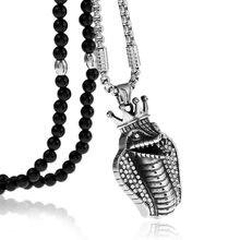 Нержавеющая сталь египетская Корона Кобра полная кристальная