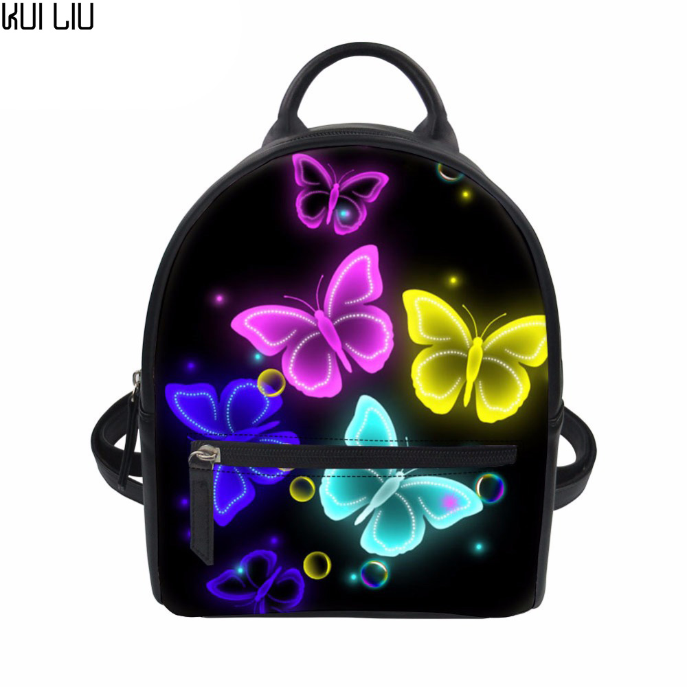 Customized Women Backpack Bright Butterfly Printing Mini Backpacks Adolescent Girls School Bagpack Small PU Leather Rucksack