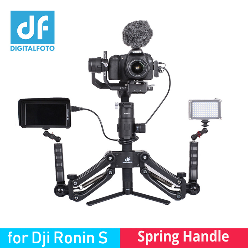 DIGITALFOTO 4.5KG Maxload Gimbal stabilizer Dual Handle with Spring for Zhiyun Crane 2 smooth 4 Feiyutech DJI RONIN S osmo 2 dh04 z axis damping spring dual handle grip arm for zhiyun crane 2 ak2000 ak2000 moza dji ronin s smooth 4 osmo 2 3 axis gimbal