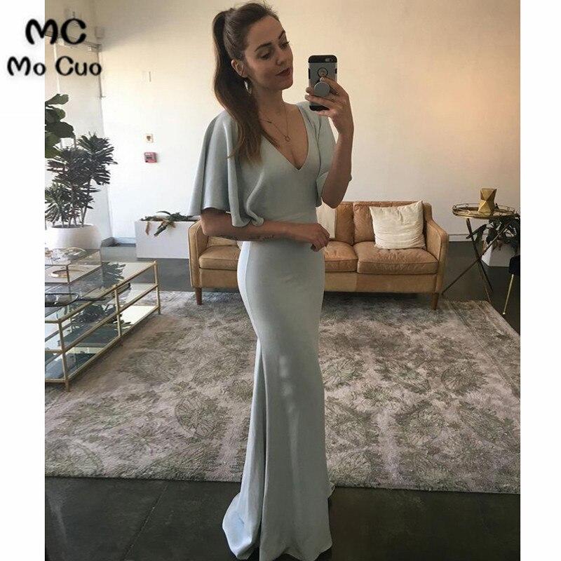 2018 Fashion Mermaid   Evening     Dresses   Long with Half Sleeve V-Neck Sweep Train Elastic Satin Formal   Evening   Party   Dress