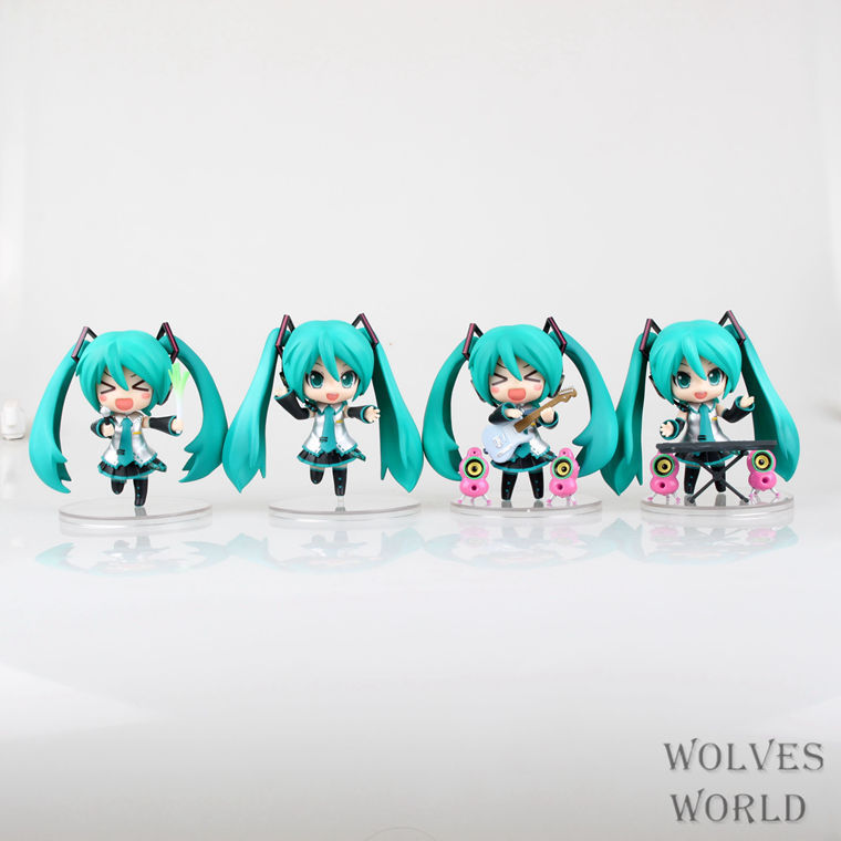 Brinquedos Baby Toy Choro-Q Hatsune Miku Kaito Meiko 4 a pack Garage Kits Animation PVC Action Figure Collectible Model Toy Doll 170 cute hatsune miku face changeable figure garage kit set