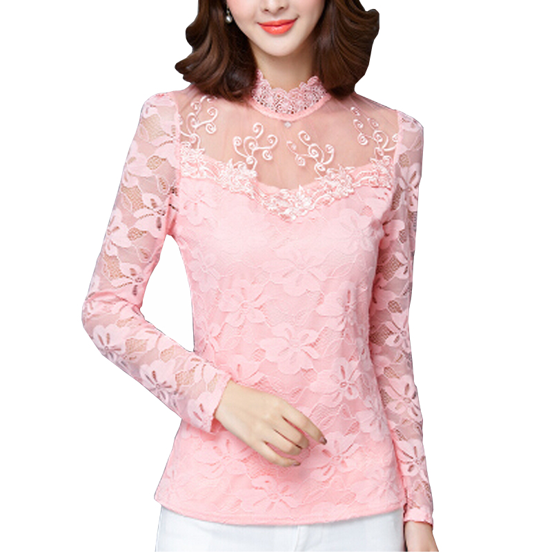 Embroidery Lace Lady White Blouses Big Size S-5XL Autumn Lady Sexy Black Fashion Shirts 2016 Pink Red Clothing