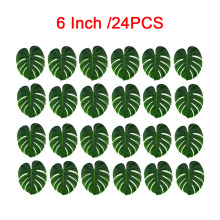 24Pcs Artificial Tropical Palm Leaves Table Decor Hibiscus Flower Hawaiian Jungle Beach Theme Family Garden Wedding Home Party