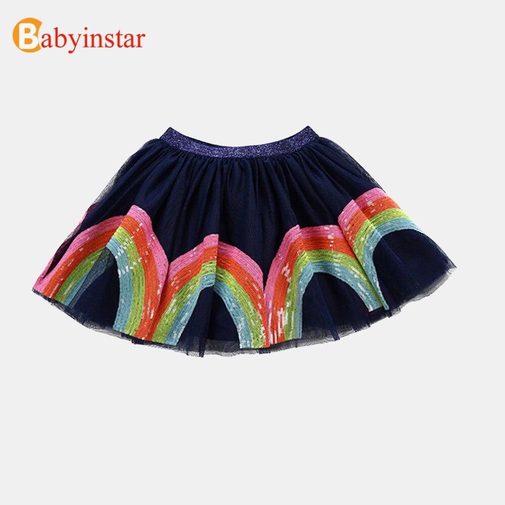 BabyinStar Boutique hecho a mano de la falda faldas de la muchacha de 2018 Nuevo Arco Iris patrón de la fresa del Bebé Ropa verano trajes