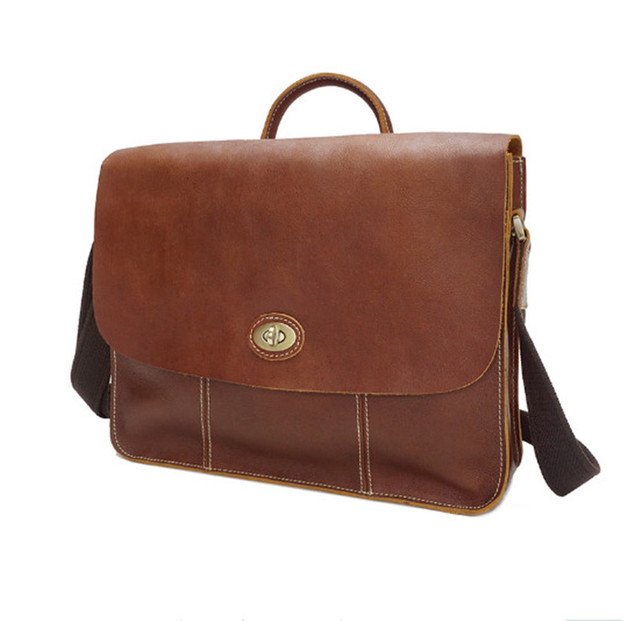 201adf4c7955 Fashion cowhide male commercial briefcase Leather vintage men s messenger  bag casual Natural Cowskin Business 15 inch laptop bag