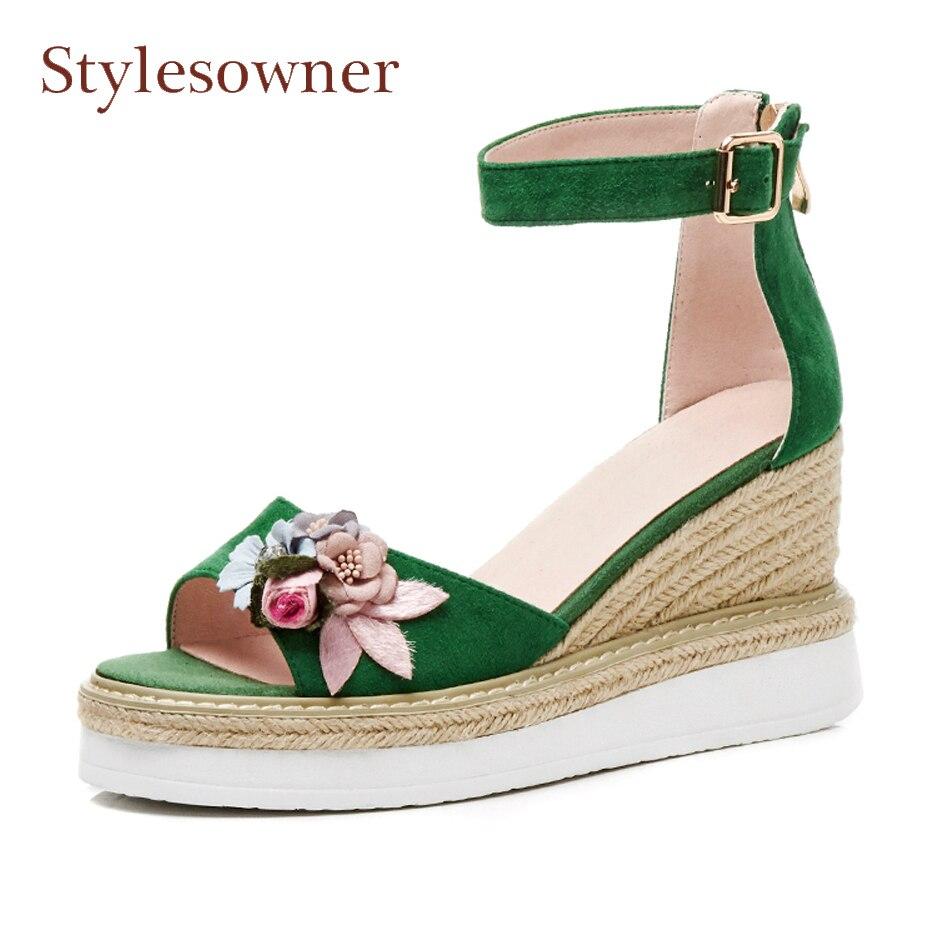 Stylesowner summer new ankle strap flowers peep toe straw weave wedge high heel gladiator shoes increased platform causal sandal