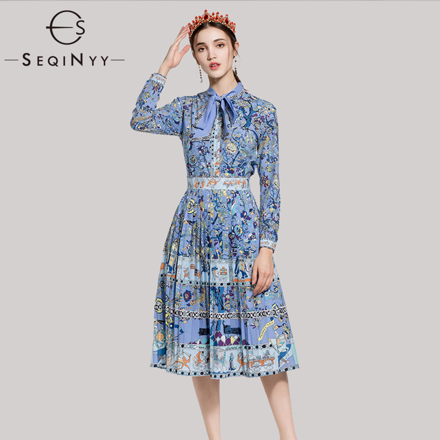 SEQINYY Printed Two Piece Set 2018 Early Autumn Fashion High Street Long Sleeve Elegant Bow Shirt + Knee A-line Skirt Blue Suit