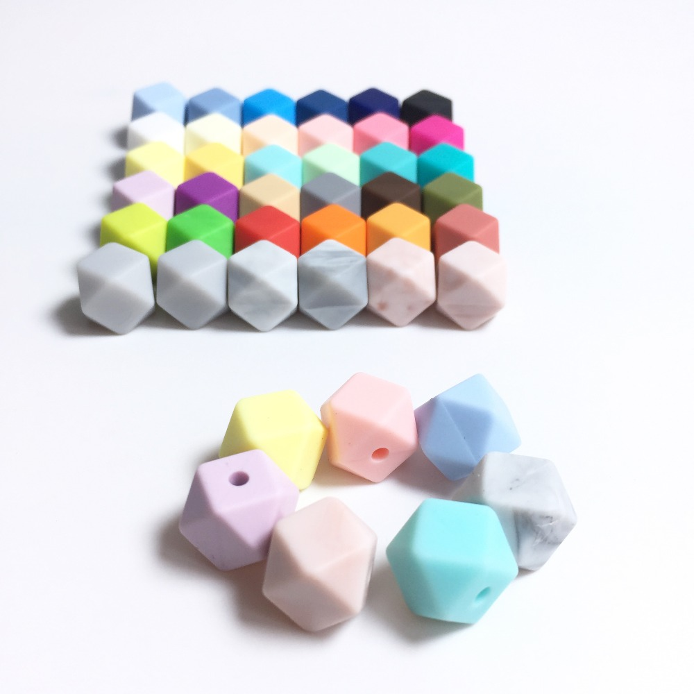 Mini Geometric Hexagon Silicone Beads For Teeth- DIY Lot Of 100pcs Hexagon Loose Individual Silicone Beads Without Joint Line