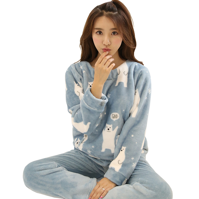 Autumn Winter Warm Cute Flannel Sleep Home Clothing Women Pajamas Sets Long  Sleeve Cartoon Sleepwear Suits Female Pyjamas Pajama 1e3595c39