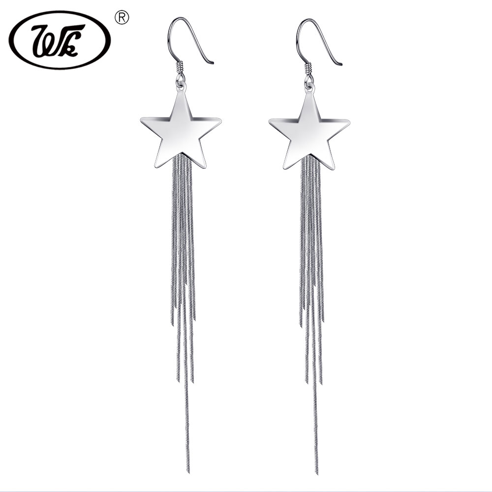 WK Genuine 925 Silver Big Star Long Tassel Fringe Chain Drop Earrings Female Luxury Dangle Hook Earings Woman Jewelry W5 EB078 silver long chain hanging earrings moon star shape