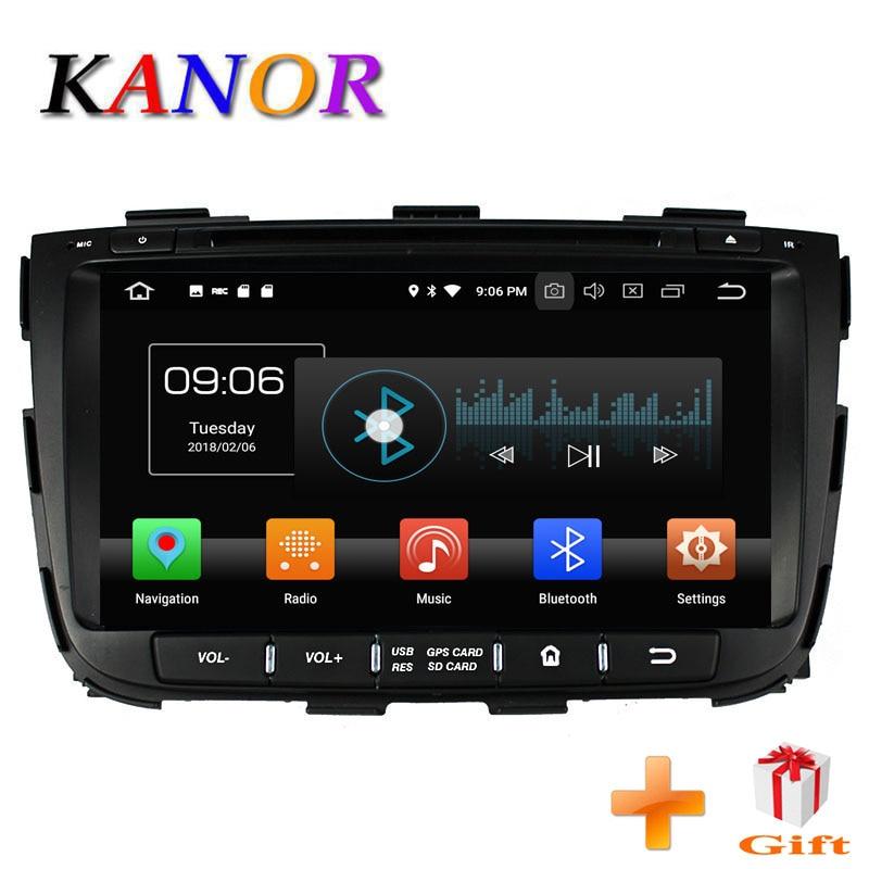 KANOR Octa Core IPS Android 8.0 RAM 4g 32g ROM 2 din Car Radio For KIA Sorento 2013 GPS Radio WIFI Bluetooth Map USB Audio