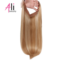 Ali Beauty Invisible Wire Flip in Hair Extensions Halo Brazilian Remy Human Hair Weft 16 18 20' Fish Line Hair