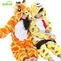 Детские пижамы для девочек дети жираф onesie мальчики рождественские Теплая Зима животных с капюшоном пижамы мальчиков пижамы для девочки
