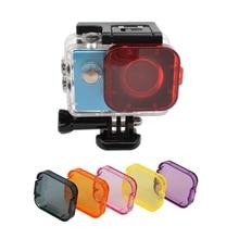 6 in 1 Dive Filter 6 Color Diving Filter Gray Purple Orange Red Pink Lens Cap Cover for Sjcam Sj4000 Waterproof Housing Case