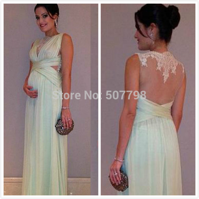 Lace Pleated Maternity Vestidos Gowns Long Chiffon 2014 ...