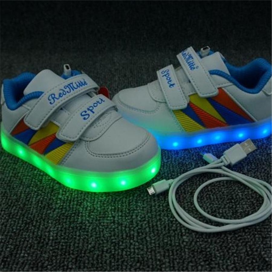 Luminous Glowing Sneakers Children Kids Led Shoes For Kids Sneakers With Luminous Sole Led Shoes Kids Usb Charging Light 40Z009 2016 fashion led shoes for children lace luminous sneakers boys girls usb charging light up kids glowing led shoes s3a23