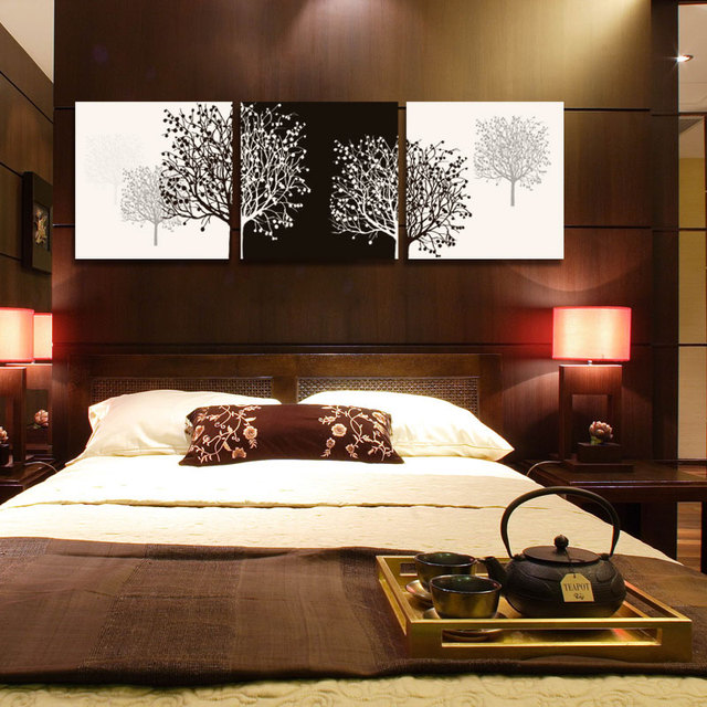 3 Piece canvas wall art tree black canvas prints abstract large cheap  modern art painting for